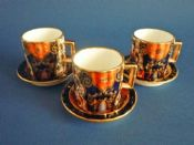 Rare Davenport Porcelain 'Imari' Pattern Miniature Coffee Cans and Saucers c1880